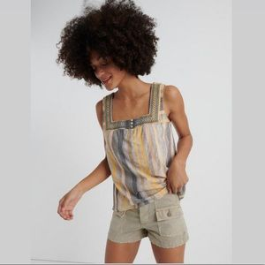 LUCKY BRAND SQUARE NECK TANK TOP NWT M GREY YELLOW